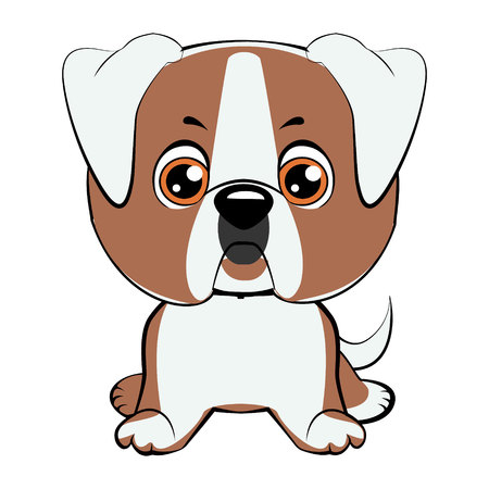 child sitting: a vector illustration of an american bulldog puppy Illustration