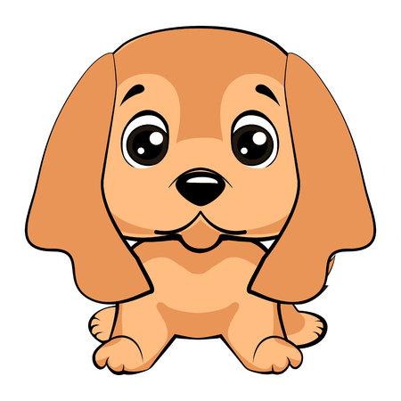 English Cocker Spaniel dog sitting flat design