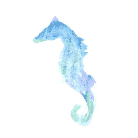 Watercolor seahorse, vector illustration.