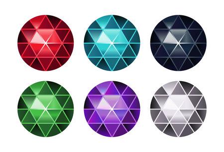 Vector set of colored gem stones, round diamonds on white