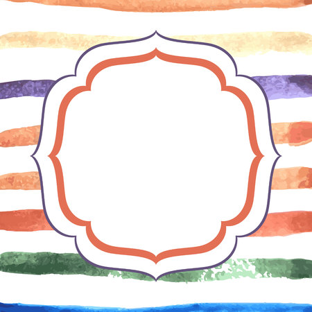 Hand drawn watercolor striped background in red, orange and pink. Grunge washed colorful lines.
