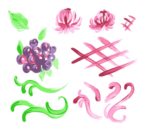 Fruit set drawn watercolor blots and stains with a spray blueberry, grapes, currants black, raspberries