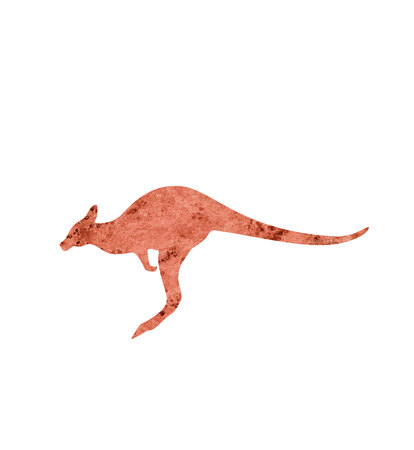 kangaroo with watercolor texture silhouette