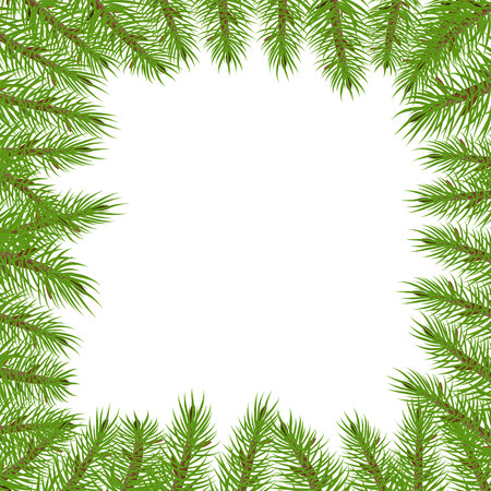 Branches of spruce in the form of a square frame. Illustration