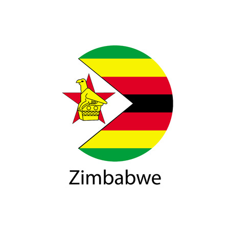 Flag of Zimbabwe in the form of a circle and the name of the country.