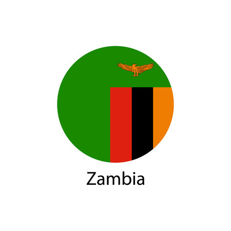 Flag of Zambia in the form of a circle and the name of the country.