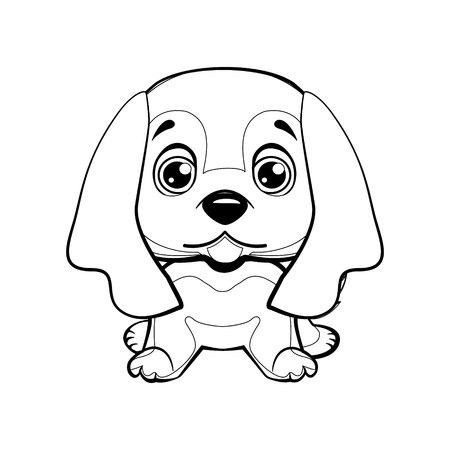 English Cocker Spaniel dog sitting flat design. Lovely linear dog. Illustration of children. Funny baby animal. Vector illustration. Illustration