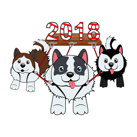 three dogs run in harness and carry the symbol of the year in the sled. Merry Christmas vector illustration. Happy new year.