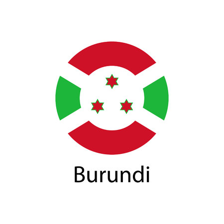 The flag of Burundi in the form of a circle and the name of the country.
