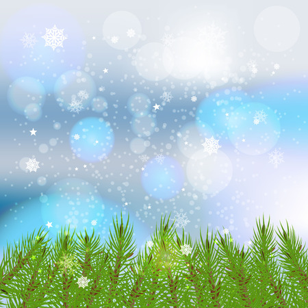 Winter card with snowflakes, branches spruce underneath Green lush spruce or pine branch.