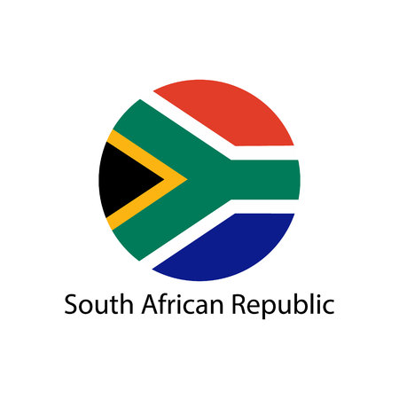 South Africa flag in circle shape. Illustration