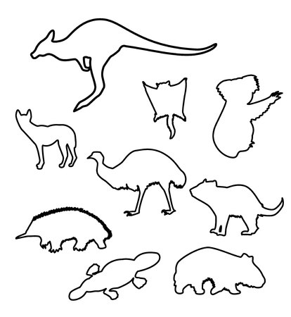 set of sketches of animals