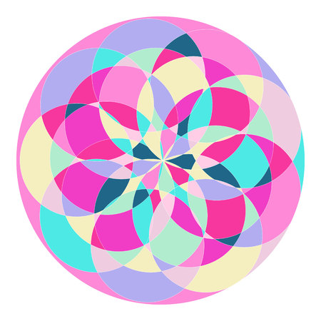 abstract pattern in the form of a circle with multi-colored parts.