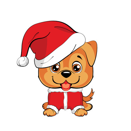 Red-haired happy dog in a red jacket with a white collar and with red hat with a white pompon on a white background. Lovely puppy. Happy Dog cartoon. Golden retriever