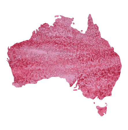 map of Australia with a pink paint texture with dark pink spots. pink