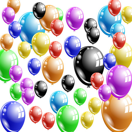 many multi-colored balloons fly upwards on a white background