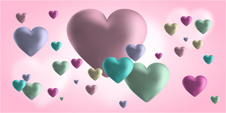 Pink Valentine s Day background with 3d hearts on red. Vector illustration. Cute love valentine banner or greeting card. Place for your text