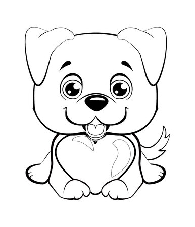 Small, cute puppy with heart. Vector illustration.