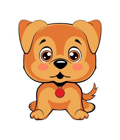 Emoji character cartoon dog embarrassed, shy and blushes sticker emoticon