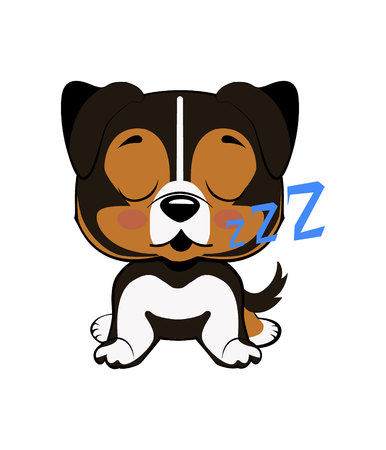 Australian shepherd cartoon.puppy character sleeping on its back, cute funny terrier vector illustration