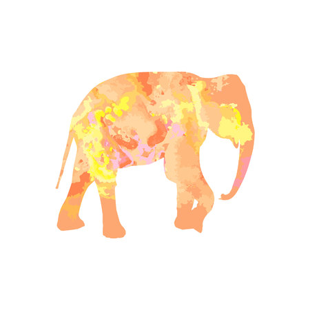 silhouette of an elephant with a watercolor texture of pink, yellow, orange