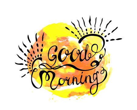 zwarte inscriptie goedemorgen met krullen en zonnestralen tegen de achtergrond van blots van felle kleuren (geel en oranje)