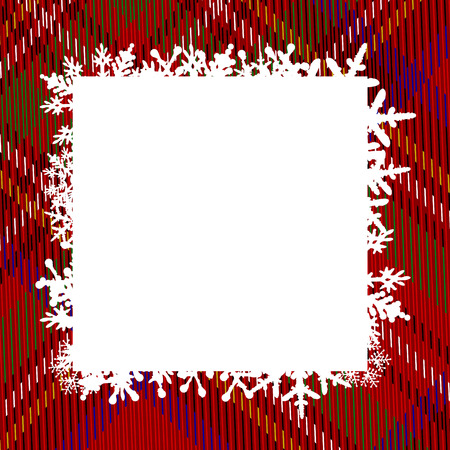 template greeting card with frame of snowflakes. tartan pattern. Pattern in a cell. Red background with blue, white, yellow, green, black and red stripes. Royal Stewart tartan