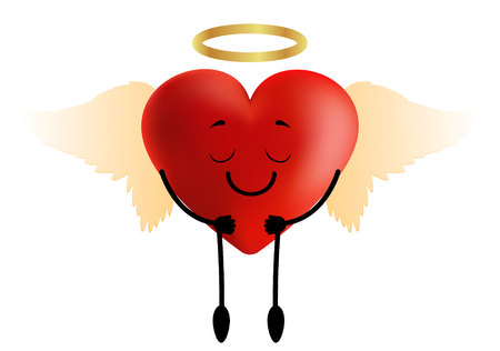 red heart with angel wings and halo