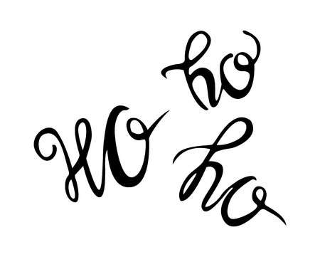 Ho-Ho-Ho Christmas vector greeting card with modern brush lettering. Banner for winter season greetings.