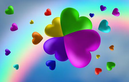 abstrakter Regenbogenhintergrund von Herzen. Ich liebe dich . Vektorillustration
