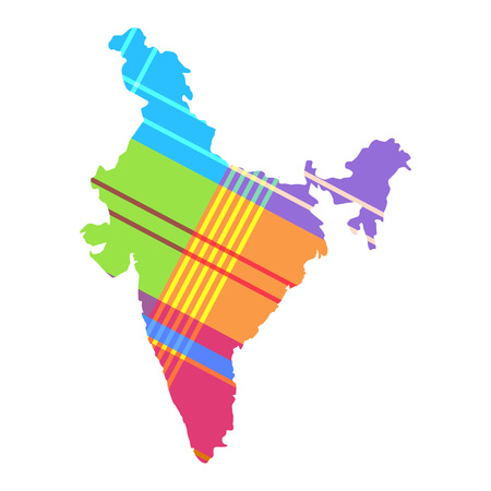 map of India the pattern of the Madras cell. Bright colors of strips (turquoise, lime, pink, purple, orange, yellow)