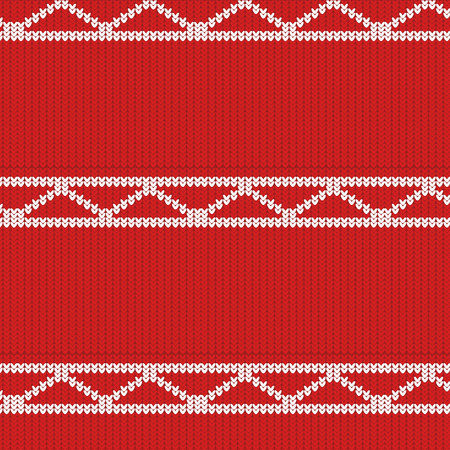 knitted texture of red color with a white pattern in the form of diagonals and stripes Illustration