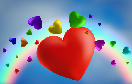 abstract rainbow background from hearts. I love you . Vector illustration