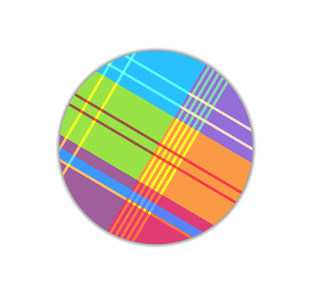 the pattern of the Madras cell in fom circle. Bright colors of strips turquoise, lime, pink, purple, orange, yellow Illustration