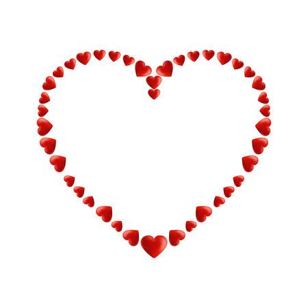 Shiny 3d vector heart. Valentine romantic background Illusztráció