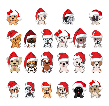 set of cute puppies in red caps with white pompons. dogs of different breeds