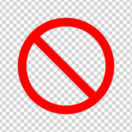 Ban Sign. Red icon on transparent background. Vector Vetores