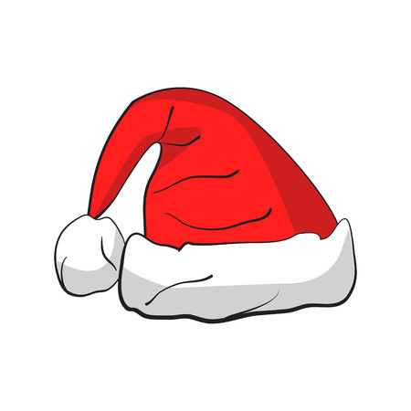 Christmas Santa Claus hat with shadow isolated on a white background. Vector illustration.