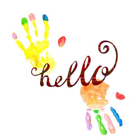 napis pozdrowienia z wzorem w szkocką kratę i nadrukami dłoni w jasnych kolorach