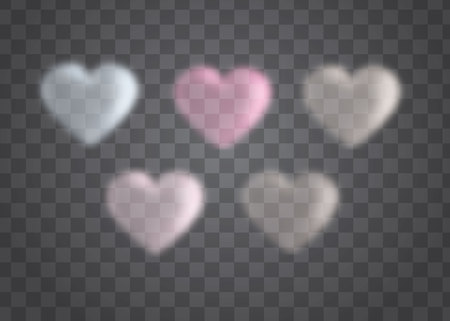 five heart glossy eps10 vector emblem icon set on a transparent background