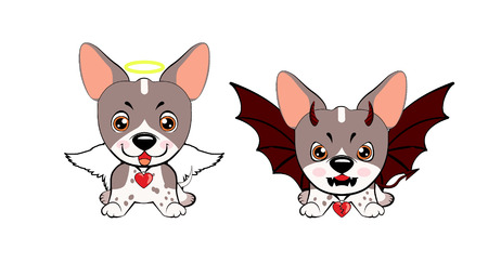 Devil Dog with horns and bat wings and happy dog angel.dog American Naked Terrier Stock Illustratie