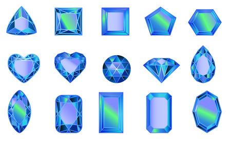 Satz Edelsteine, Diamanten von BLAU. Satz Diamanten in verschiedenen Schliffformen Vektorgrafik