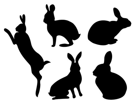 set black silhouettes of hares in different poses. Rabbit Set, Isolated On White Background