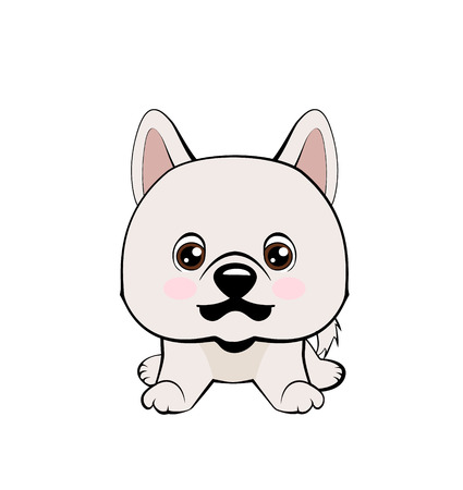 Vector illustration of Angry puppy. Eskimo Dog or Spitz.