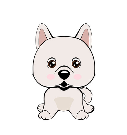 Vector Stock Illustration isolated Emoji character cartoon dog embarrassed, shy and blushes sticker emoticon