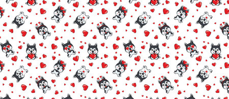 A pattern with small brown dogs with red hearts on a white background. dog Alaskan Malamute Illustration