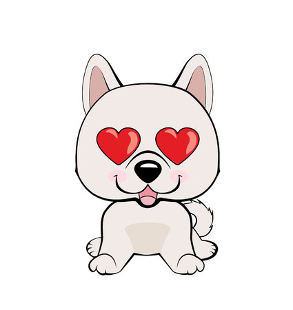 in love, kiss, romantic, relationship, happy, with heart eyes emotions. Set of dog character illustrations in vector hand drawn cartoon style. As logo, mascot, sticker, emoji, emoticon Иллюстрация