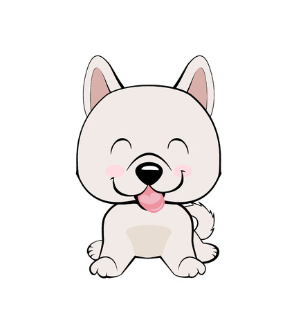 Isolated colorful head and face of happy labrador retriever on white background. Eskimo Dog or Spitz. Illustration