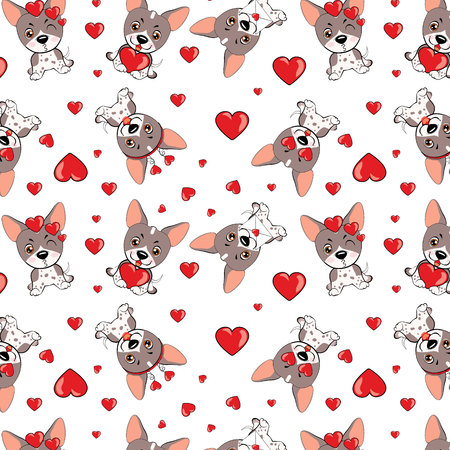A pattern with small brown dogs with red hearts on a white background.dog American Naked Terrier