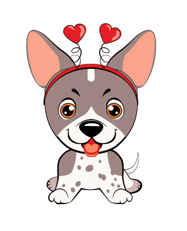 Card of a Valentine's Day. Portrait of a dog in a fun pink heart headband. Vector illustration.